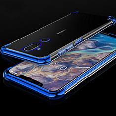 Coque Ultra Fine TPU Souple Housse Etui Transparente H01 pour Nokia 7.1 Plus Bleu