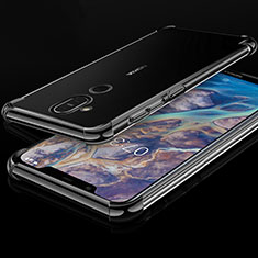 Coque Ultra Fine TPU Souple Housse Etui Transparente H01 pour Nokia 7.1 Plus Noir