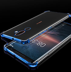 Coque Ultra Fine TPU Souple Housse Etui Transparente H01 pour Nokia 7 Plus Bleu