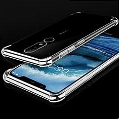 Coque Ultra Fine TPU Souple Housse Etui Transparente H01 pour Nokia X5 Argent