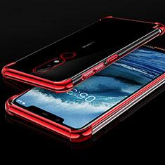 Coque Ultra Fine TPU Souple Housse Etui Transparente H01 pour Nokia X5 Rouge