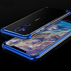 Coque Ultra Fine TPU Souple Housse Etui Transparente H01 pour Nokia X7 Bleu