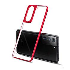 Coque Ultra Fine TPU Souple Housse Etui Transparente H01 pour Samsung Galaxy S21 Plus 5G Rouge