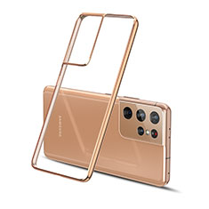Coque Ultra Fine TPU Souple Housse Etui Transparente H01 pour Samsung Galaxy S21 Ultra 5G Or