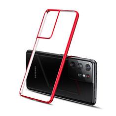 Coque Ultra Fine TPU Souple Housse Etui Transparente H01 pour Samsung Galaxy S21 Ultra 5G Rouge