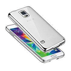 Coque Ultra Fine TPU Souple Housse Etui Transparente H01 pour Samsung Galaxy S5 Duos Plus Argent