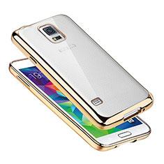 Coque Ultra Fine TPU Souple Housse Etui Transparente H01 pour Samsung Galaxy S5 Duos Plus Or
