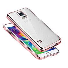 Coque Ultra Fine TPU Souple Housse Etui Transparente H01 pour Samsung Galaxy S5 Duos Plus Or Rose