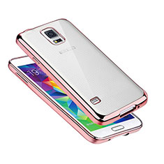 Coque Ultra Fine TPU Souple Housse Etui Transparente H01 pour Samsung Galaxy S5 G900F G903F Or Rose