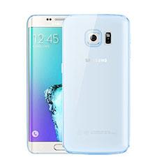 Coque Ultra Fine TPU Souple Housse Etui Transparente H01 pour Samsung Galaxy S6 Edge+ Plus SM-G928F Bleu