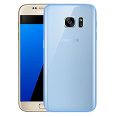 Coque Ultra Fine TPU Souple Housse Etui Transparente H01 pour Samsung Galaxy S7 G930F G930FD Bleu