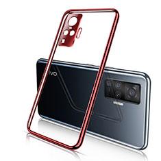Coque Ultra Fine TPU Souple Housse Etui Transparente H01 pour Vivo X50 Pro 5G Rouge