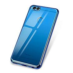 Coque Ultra Fine TPU Souple Housse Etui Transparente H02 pour Huawei Honor 7X Bleu