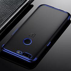 Coque Ultra Fine TPU Souple Housse Etui Transparente H02 pour OnePlus 5T A5010 Bleu