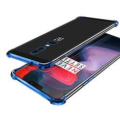 Coque Ultra Fine TPU Souple Housse Etui Transparente H02 pour OnePlus 6 Bleu
