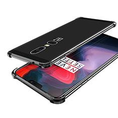 Coque Ultra Fine TPU Souple Housse Etui Transparente H02 pour OnePlus 6 Noir