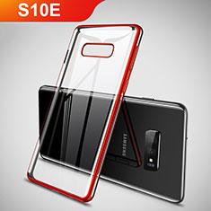 Coque Ultra Fine TPU Souple Housse Etui Transparente H02 pour Samsung Galaxy S10e Rouge
