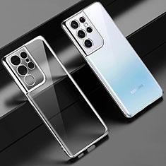 Coque Ultra Fine TPU Souple Housse Etui Transparente H02 pour Samsung Galaxy S21 Ultra 5G Argent