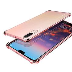 Coque Ultra Fine TPU Souple Housse Etui Transparente H03 pour Huawei P20 Or Rose