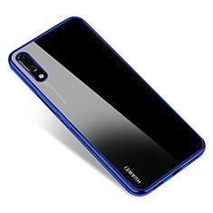 Coque Ultra Fine TPU Souple Housse Etui Transparente H04 pour Huawei P20 Bleu