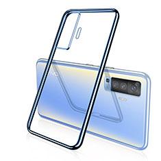 Coque Ultra Fine TPU Souple Housse Etui Transparente H04 pour Vivo X50 5G Bleu
