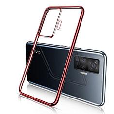 Coque Ultra Fine TPU Souple Housse Etui Transparente H04 pour Vivo X50 Pro 5G Rouge