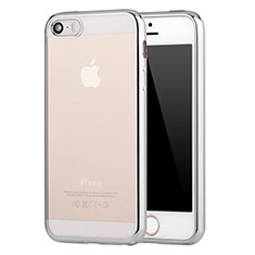 Coque Ultra Fine TPU Souple Housse Etui Transparente H05 pour Apple iPhone 5 Argent