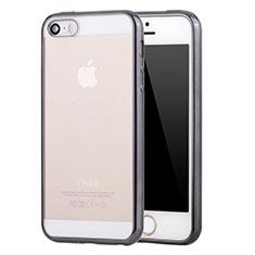 Coque Ultra Fine TPU Souple Housse Etui Transparente H05 pour Apple iPhone 5 Gris