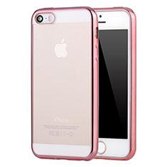 Coque Ultra Fine TPU Souple Housse Etui Transparente H05 pour Apple iPhone 5 Or Rose