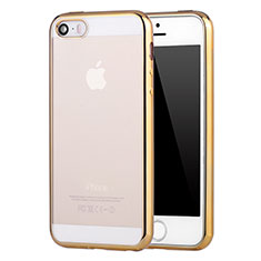 Coque Ultra Fine TPU Souple Housse Etui Transparente H05 pour Apple iPhone 5S Or