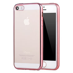 Coque Ultra Fine TPU Souple Housse Etui Transparente H05 pour Apple iPhone 5S Or Rose