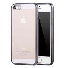 Coque Ultra Fine TPU Souple Housse Etui Transparente H05 pour Apple iPhone SE Gris