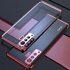Coque Ultra Fine TPU Souple Housse Etui Transparente H05 pour Vivo X50 5G Rouge