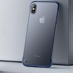 Coque Ultra Fine TPU Souple Housse Etui Transparente HT01 pour Apple iPhone Xs Bleu