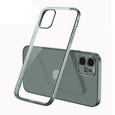 Coque Ultra Fine TPU Souple Housse Etui Transparente N01 pour Apple iPhone 12 Vert Nuit