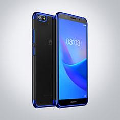 Coque Ultra Fine TPU Souple Housse Etui Transparente S01 pour Huawei Honor 7S Bleu