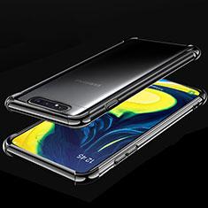 Coque Ultra Fine TPU Souple Housse Etui Transparente S01 pour Samsung Galaxy A80 Noir