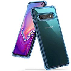 Coque Ultra Fine TPU Souple Housse Etui Transparente S01 pour Samsung Galaxy S10 Bleu Ciel