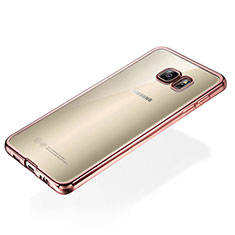 Coque Ultra Fine TPU Souple Housse Etui Transparente S01 pour Samsung Galaxy S6 Edge+ Plus SM-G928F Or Rose