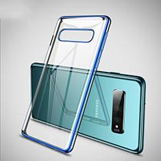 Coque Ultra Fine TPU Souple Housse Etui Transparente S02 pour Samsung Galaxy S10 Bleu