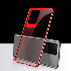 Coque Ultra Fine TPU Souple Housse Etui Transparente S02 pour Samsung Galaxy S20 Ultra 5G Rouge