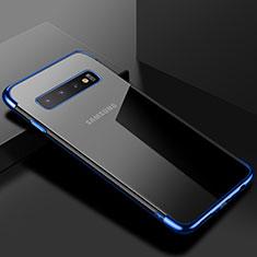 Coque Ultra Fine TPU Souple Housse Etui Transparente S03 pour Samsung Galaxy S10 Bleu