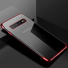 Coque Ultra Fine TPU Souple Housse Etui Transparente S03 pour Samsung Galaxy S10 Plus Rouge