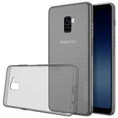 Coque Ultra Fine TPU Souple Transparente T02 pour Samsung Galaxy A8+ A8 Plus (2018) Duos A730F Gris