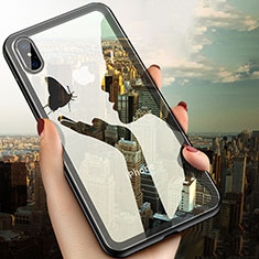Coque Ultra Fine TPU Souple Transparente V08 pour Apple iPhone X Noir