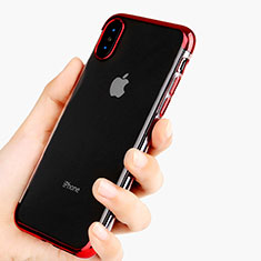 Coque Ultra Fine TPU Souple Transparente V11 pour Apple iPhone X Rouge