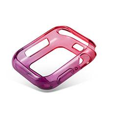 Coque Ultra Fine Transparente Souple Housse Etui Degrade G01 pour Apple iWatch 5 44mm Rouge