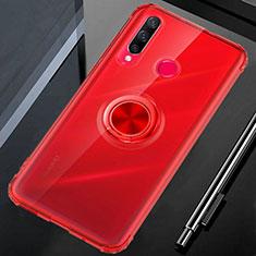 Coque Ultra Slim Silicone Souple Housse Etui Transparente avec Support Bague Anneau Aimante Magnetique C01 pour Huawei Honor 20 Lite Rouge