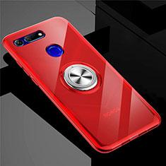 Coque Ultra Slim Silicone Souple Housse Etui Transparente avec Support Bague Anneau Aimante Magnetique C01 pour Huawei Honor View 20 Rouge