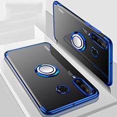Coque Ultra Slim Silicone Souple Housse Etui Transparente avec Support Bague Anneau Aimante Magnetique C01 pour Huawei Nova 4e Bleu
